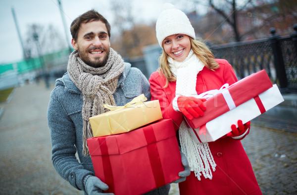 Couple with giftboxes Stock photo © pressmaster