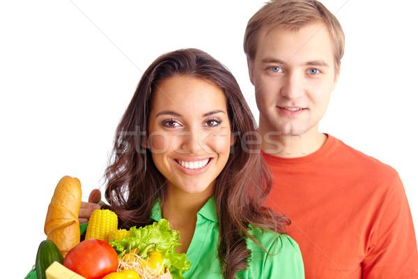 Stock fotó: Pár · boldog · egészséges · étkezés · néz · kamera · lány