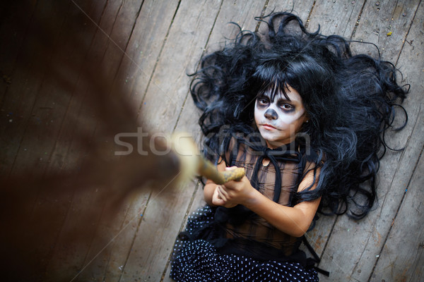 Witch with broom Stock photo © pressmaster