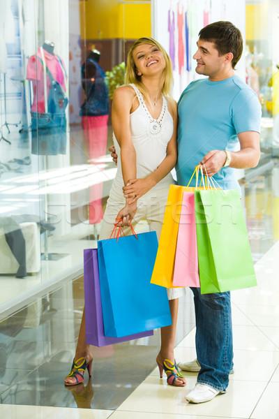 Foto d'archivio: Shopping · centro · ritratto · due · persone · felici