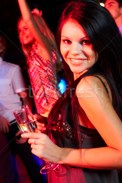Photo stock: Mode · fille · portrait · heureux · femme · champagne