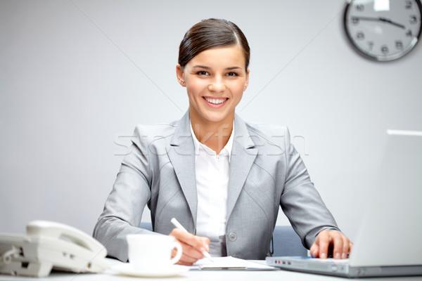 Stok fotoğraf: Güzel · işkadını · görüntü · genç · işveren · bakıyor