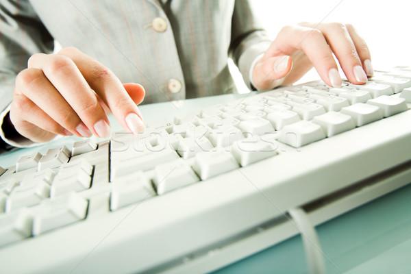 набрав изображение женщины пальцы прикасаться Сток-фото © pressmaster