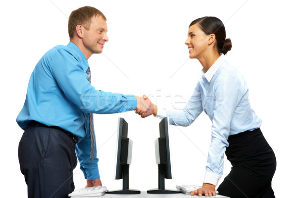 Réussi collaboration deux gens d'affaires serrer la main permanent Photo stock © pressmaster