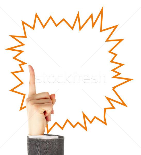ポインティング 女性 手 アップ 吹き出し 孤立した ストックフォト © pressmaster