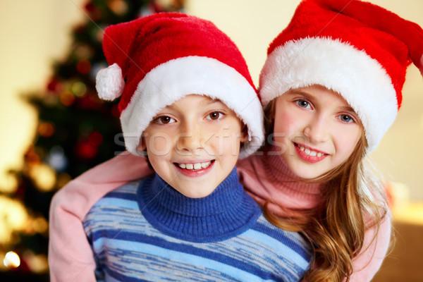 Karácsony testvérek imádnivaló mikulás sapkák mosolyog Stock fotó © pressmaster