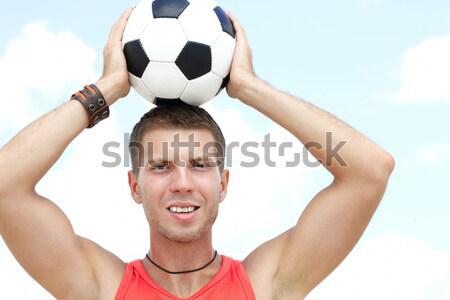 человека футбола портрет мышечный мяча лице Сток-фото © pressmaster
