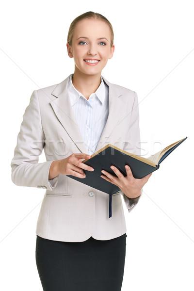 Titkárnő portré fiatal üzletasszony tanár nyitva Stock fotó © pressmaster