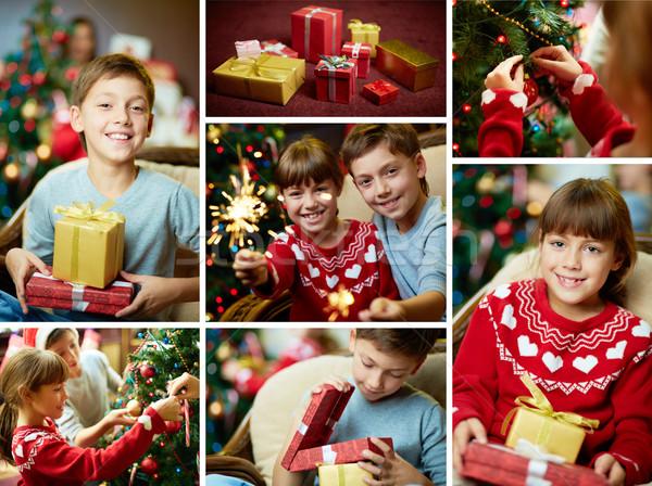 Feliz ocasião colagem irmãos natal noite Foto stock © pressmaster