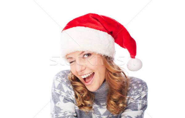 Mrugnięcie portret happy girl szary sweter Święty mikołaj Zdjęcia stock © pressmaster