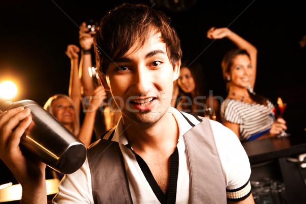Barman garrafa retrato sorridente masculino olhando Foto stock © pressmaster