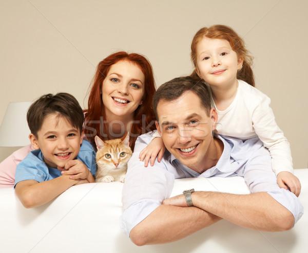 Stockfoto: Vrolijk · broers · en · zussen · ouders · cute · kat