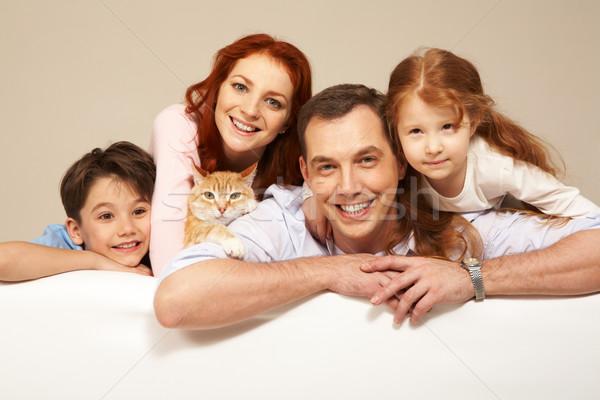 Stockfoto: Gelukkig · paar · twee · kinderen · glimlachend