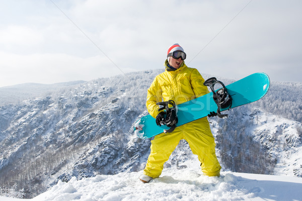 Foto stock: Ganador · retrato · excitado · snowboard · pie