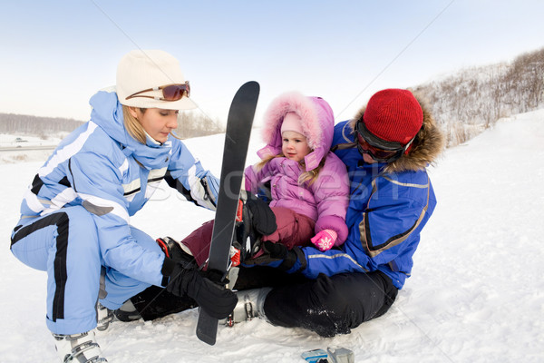 Familie afbeelding tijd winter resort Stockfoto © pressmaster