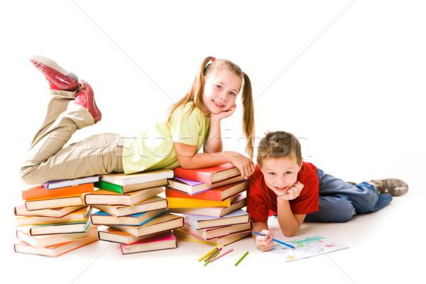 Kleuters smart meisje top boek cute Stockfoto © pressmaster
