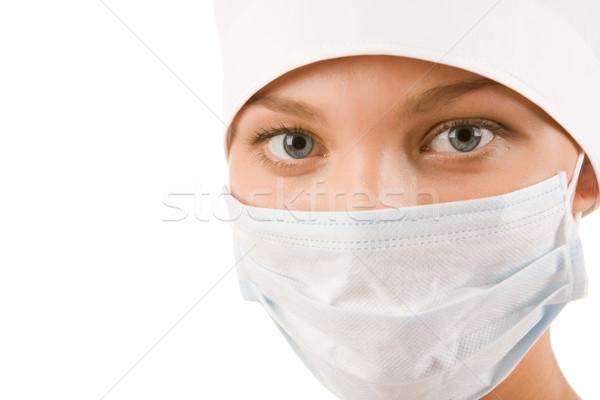 Cols bleus travailleur visage infirmière stérile masque Photo stock © pressmaster