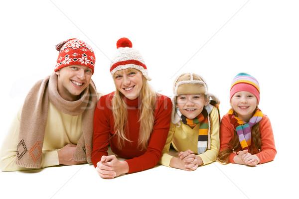 Сток-фото: зима · отдыха · семьи · четыре · теплая · одежда · изолированный