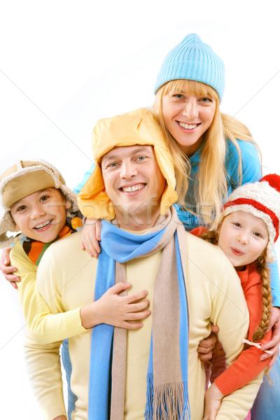 Zdjęcia stock: Głowie · rodziny · dwa · dzieci · żona · zimą