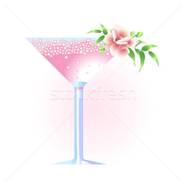 Martinis pohár virág esküvő buli születésnap koktél Stock fotó © pressmaster
