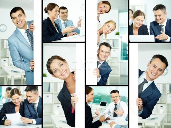 Foto stock: Negócio · colagem · amigável · profissionais · planejamento · trabalhar