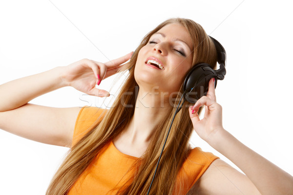 Kellemes pillanat közelkép csinos lány fejhallgató Stock fotó © pressmaster