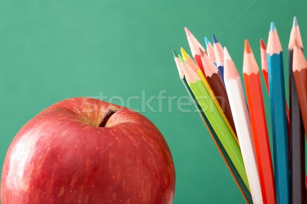 Сток-фото: красочный · карандашей · яблоко · красное · яблоко · аннотация