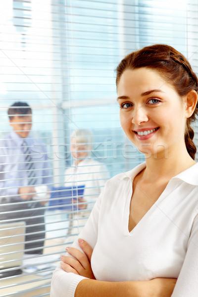 Stock fotó: Csinos · munkáltató · női · vezető · néz · kamera