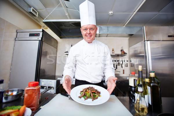 Kész körítés kép férfi szakács adag Stock fotó © pressmaster