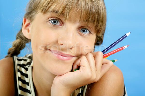 портрет школьница улыбаясь цвета карандашей Сток-фото © pressmaster