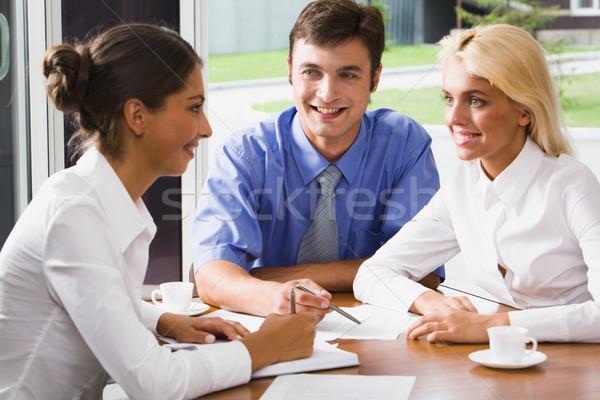 Сток-фото: деловые · люди · заседание · три · бизнеса