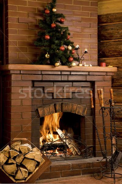 Foto stock: Chaminé · imagem · fogo · dentro · decorado · árvore