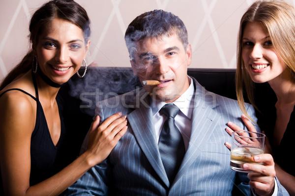 Zdjęcia stock: Ludzi · portret · udany · człowiek · palenia · cygara