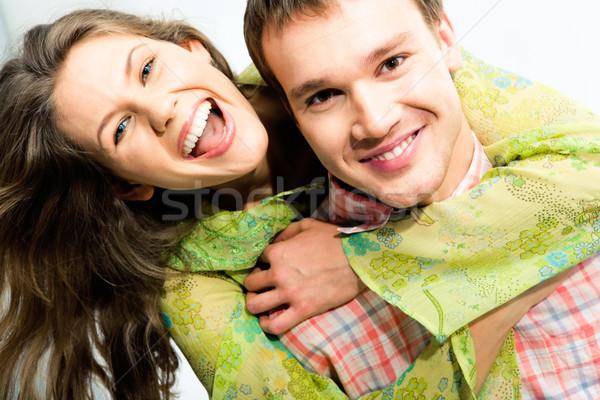 Feliz pareja cerca hermosa mujer hombre Foto stock © pressmaster