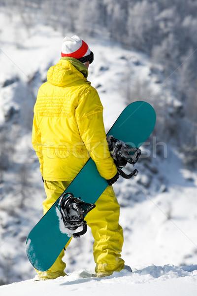 Snowbordos hátsó nézet áll sport hát fehér Stock fotó © pressmaster
