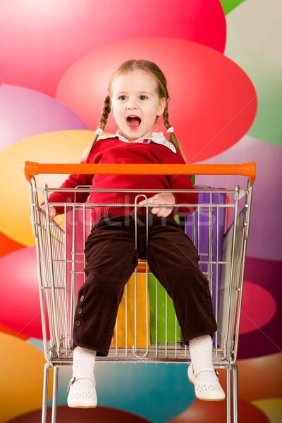 Méchant Kid portrait étonné fille séance Photo stock © pressmaster