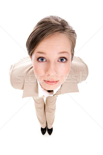 Nieuwsgierig vrouw fisheye shot vrouwelijke naar Stockfoto © pressmaster