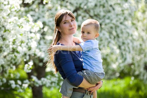 Photo stock: Homme · enfant · portrait · jolie · femme · cute · fils