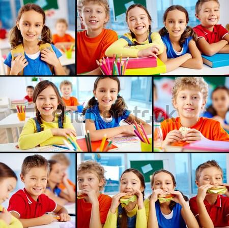 Сток-фото: счастливым · детство · коллаж · детей · книга · Kid