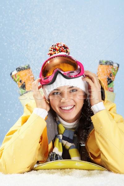 Wintersport portret gelukkig skateboarder naar camera Stockfoto © pressmaster