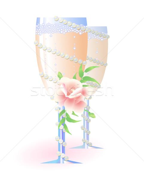 Dos flauta champán flores perlas Foto stock © pressmaster