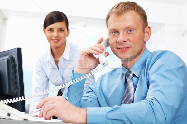 Stockfoto: Baas · telefoon · portret · business · leider · naar