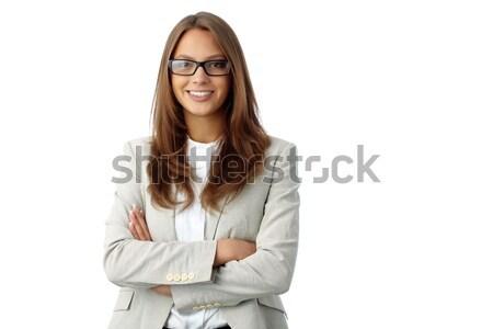 Stock fotó: Lány · portré · üzlet · hölgy · izolált · fehér
