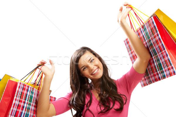 Stok fotoğraf: Müşteri · çanta · portre · mutlu · kız · renkli