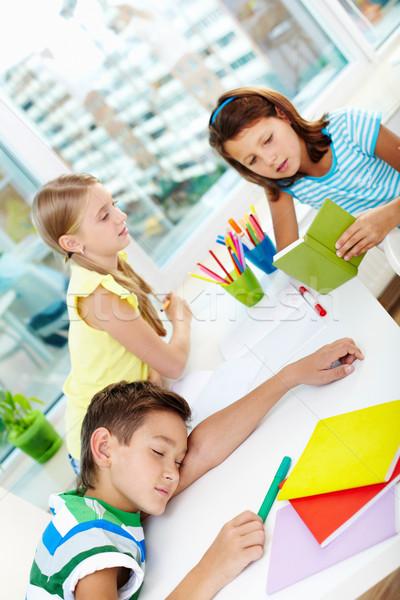 Photo stock: Pause · deux · écolières · parler · travail
