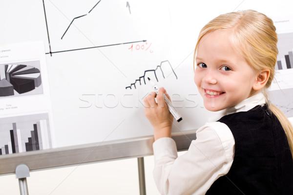 Lány portré csinos toll kéz néz Stock fotó © pressmaster