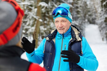 Stok fotoğraf: Sağlıklı · güzel · kayakçı · mavi · bakıyor