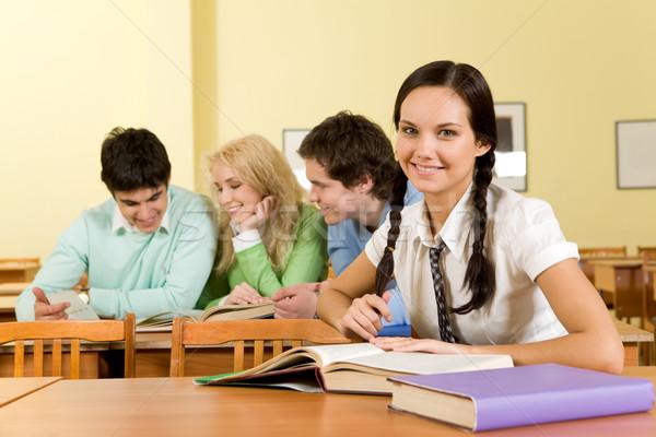 Ders portre mutlu Öğrenciler oturma bakıyor Stok fotoğraf © pressmaster