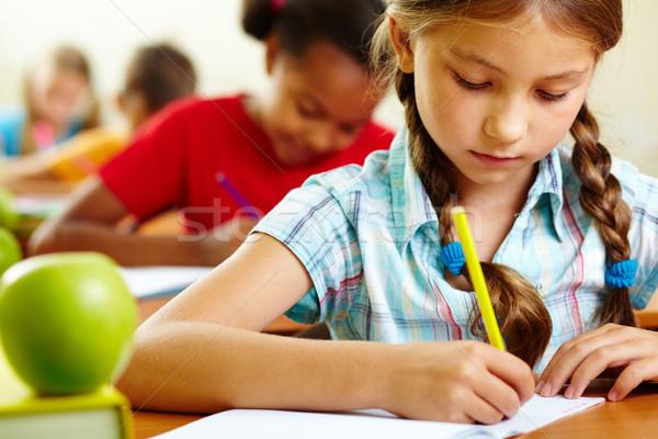 Kız ders portre çizim öğrenci Stok fotoğraf © pressmaster