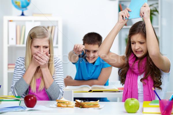 étvágy megrémült lány néz pók egy Stock fotó © pressmaster